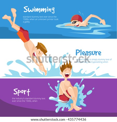 Vector illustration of Boys swims in the pool. Set of web banners with place for your text. - stock vector