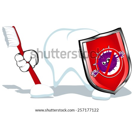 vector illustration of  brave cartoon tooth with toothbrush and shield - stock vector