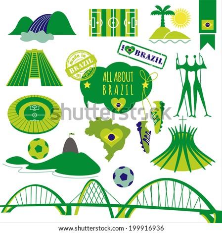 Vector illustration of Brazil. - stock vector