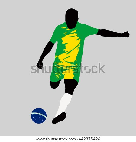 vector illustration of Brazilian football player run hit ball. Soccer team player in uniform with state national flag of Brazil in original colors. Brazilian football ball depicted on national flag - stock vector