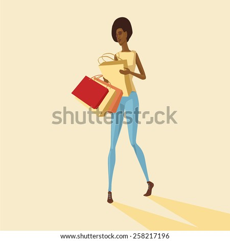 vector illustration of brazilian girl with paper bags - stock vector