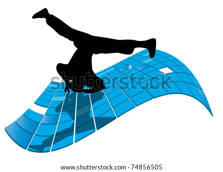 Vector illustration of breakdancer. - stock vector