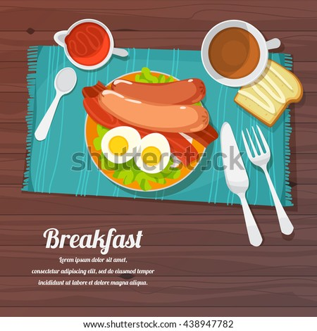 vector illustration of breakfast table with eggs, bacon, toast and fresh vegetables - stock vector