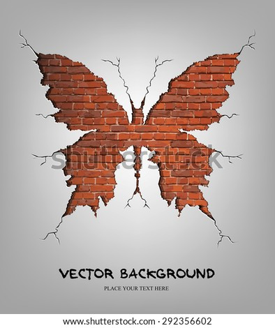 Vector illustration of brick damage butterfly. Eps10 - stock vector