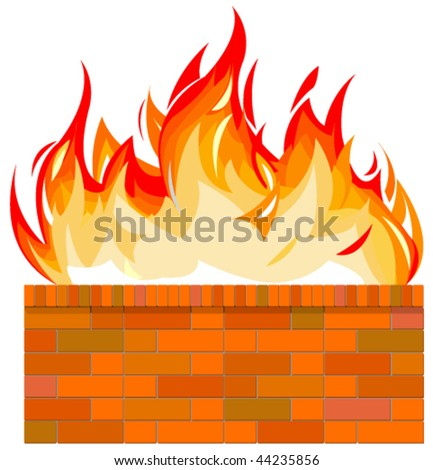 Vector illustration of brick wall on fire