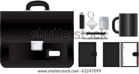 Vector illustration of briefcase with accessories - stock vector