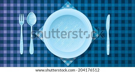 Vector illustration of bright typography cutlery set, fork, spoon, plate, knife with blue table cloth pattern - stock vector