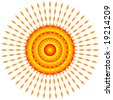 Vector illustration of bright yellow and orange sun. - stock vector