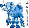 Vector illustration of broken blue brass robot character - stock vector