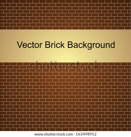 Vector illustration of brown brick wall background - stock vector