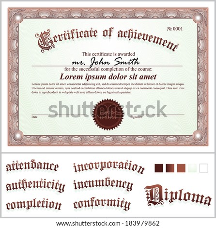 Vector illustration gold certificate template horizontal stock vector illustration of brown certificate template horizontal additional design elements yadclub Choice Image