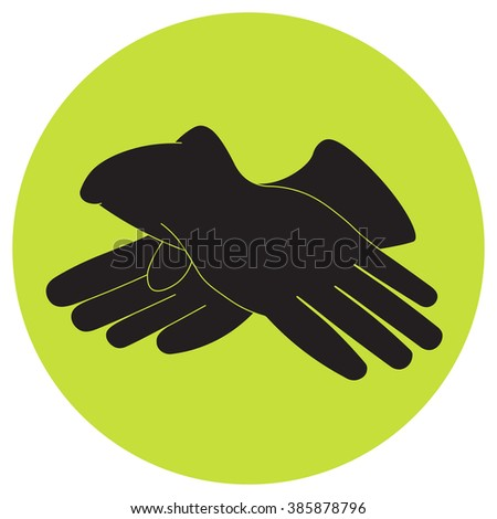 Vector illustration of brown gloves for gardening and garden.