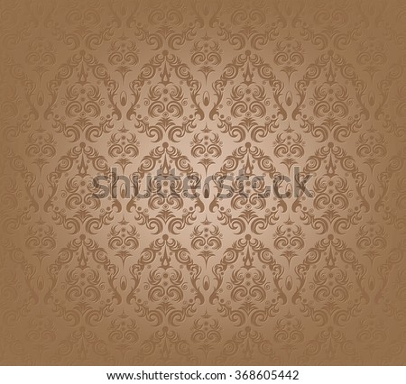 Vector illustration of brown wallpaper seamless pattern - stock vector