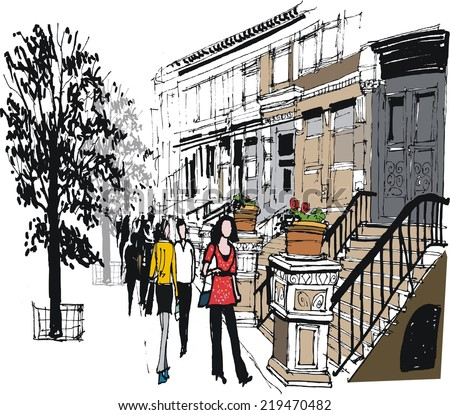 Vector illustration of brownstone building, pedestrians and trees, New York - stock vector