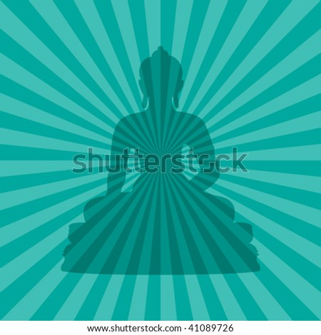 vector illustration of buddha silhouette on teal burst background