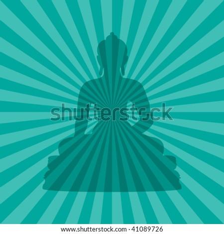 vector illustration of buddha silhouette on teal burst background - stock vector