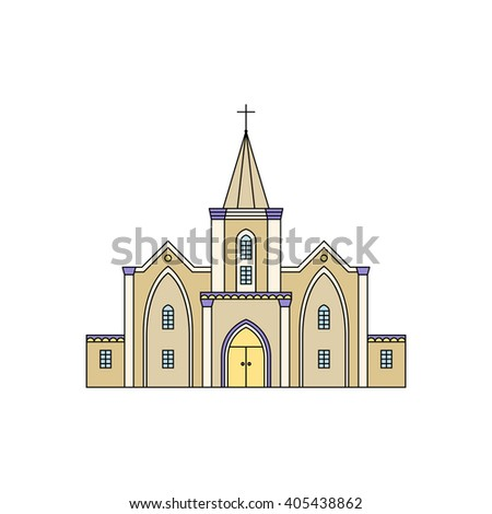 Vector illustration of building facade. Church viewed from front elevation on white background. - stock vector