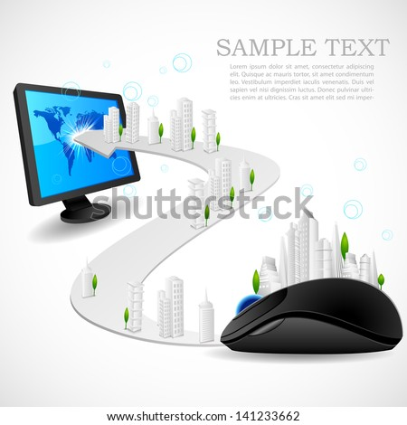 vector illustration of building on road connecting mouse and computer - stock vector