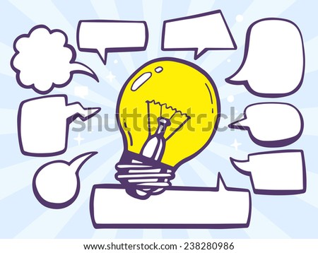 Vector illustration of bulb light with speech comics bubbles on blue background. Line art design for web, site, advertising, banner, poster, board and print. - stock vector