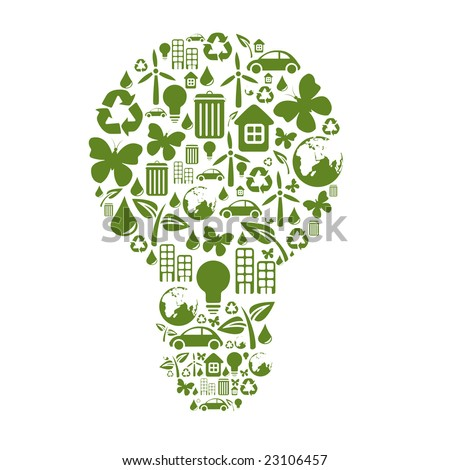 Vector illustration of bulb shape, made from different ecological items. - stock vector