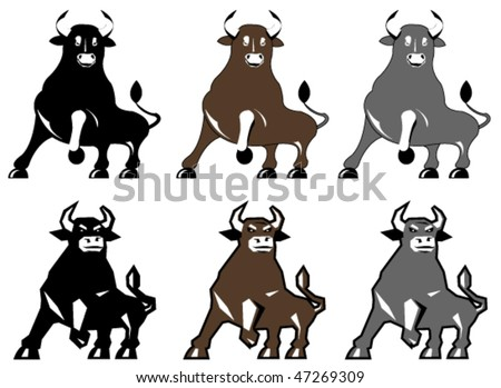 Vector illustration of bull in different colors and styles - stock vector