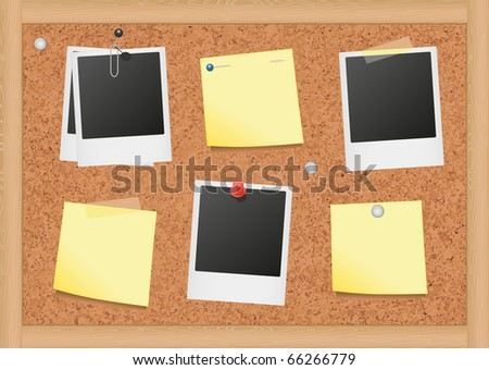 Vector illustration of bulletin board with blank notes and photos. All objects are isolated. Colors and transparent background color are easy to adjust. - stock vector
