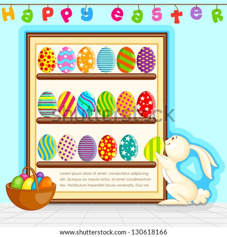 vector illustration of bunny decorating colorful Easter egg - stock vector