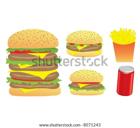 Vector Illustration of Burgers, Chips and a 3d Can isolated on a white background