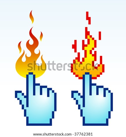 Vector illustration of burning finger cursor, pixel art. - stock vector
