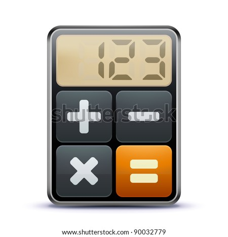 Vector illustration of business concept with calculator icon - stock vector