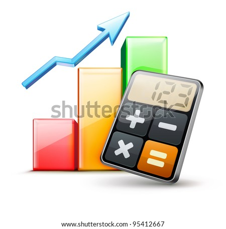 Vector illustration of business concept with calculator icon and finance graph - stock vector