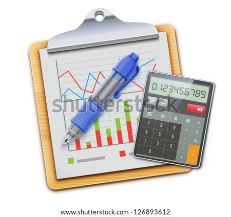 Vector illustration of business concept with clipboard, calculator icon and blue ballpoint pen isolated on white background