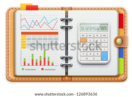 Vector illustration of business concept with realistic leather spiral notebook and electronic calculator