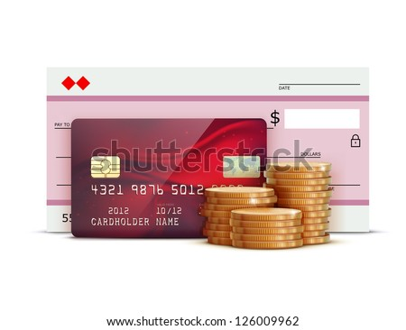 Vector illustration of business concept with red credit card, bank check and stacks of golden coins