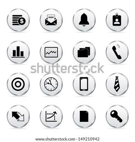 Vector illustration of business icons in buttons. - stock vector
