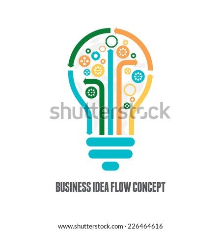 Vector illustration of business idea flow concept. - stock vector