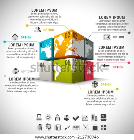 Vector illustration of business infographic made of cubes and world map.  - stock vector