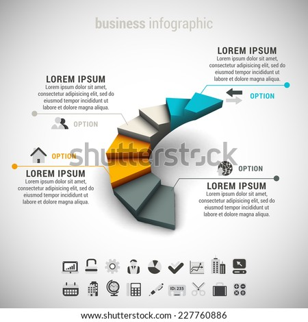 Vector illustration of business infographic made of stairs. EPS10. - stock vector