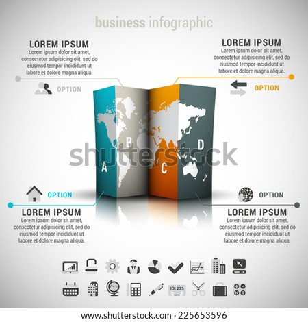 Vector illustration of business infographic made of world map. 22 icons inside file.EPS10. - stock vector