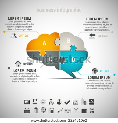 Vector illustration of business infographic with brain made of puzzle. EPS10. - stock vector