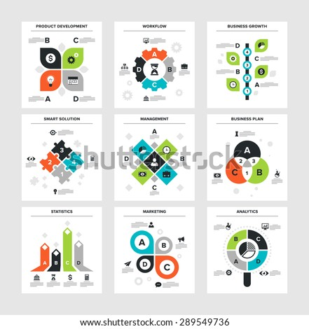 Vector illustration of business infographics on following themes - product development, workflow, business growth, smart solution, management, business plan, statistics, marketing, analytics - stock vector