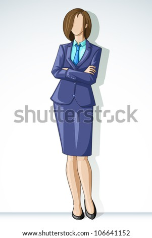 vector illustration of business lady posing in formal suit - stock vector