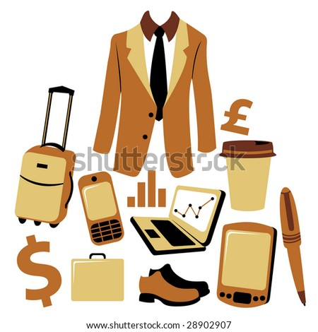 Vector illustration of business man accessories set. - stock vector