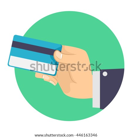 Vector Illustration of Business Man holding a Blank Credit Card