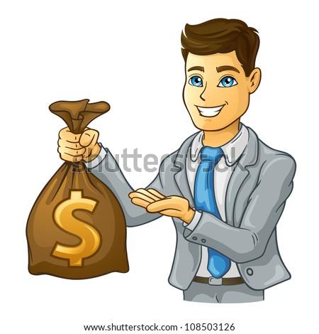 Vector illustration of business man holding money bag on white background. - stock vector