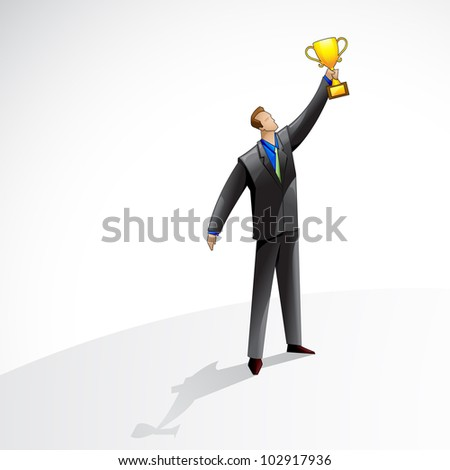 vector illustration of business man with gold trophy - stock vector