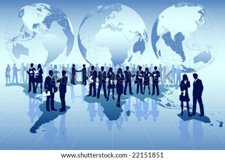 Vector Illustration of  business men conducting global business around the world - stock vector