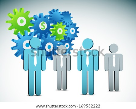 Vector illustration of business people and gears. EPS10 file. Contains blending mode.