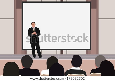 Vector illustration of business seminar. - stock vector