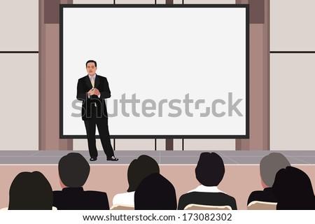Vector illustration of business seminar. - stock vector